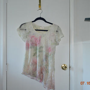 Floral Lace Overlay Blouse
